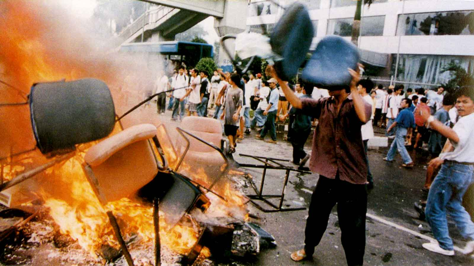 The riots and demonstration in May 1998, followed by the downfall of Suharto's New Order and the dawn of Reformation.
